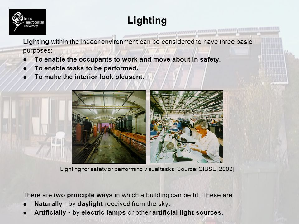 Lighting for safety or performing visual tasks [Source: CIBSE, 2002]